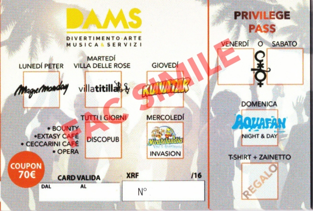 dams card estate 2016 riccione