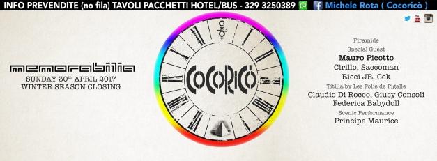memorabilia cocorico 30 aprile 2017 prevendite tavoli hotel