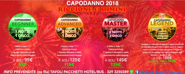 pacchetti capodanno 2018 riccione rimini hotel + discoteche michele