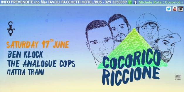 ben klock cocorico riccione 17 giugno 2017 ticket pacchetti hotel