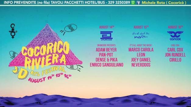 cocorico 3days festival 14 15 16 agosto 2017 ticket pacchetti hotel