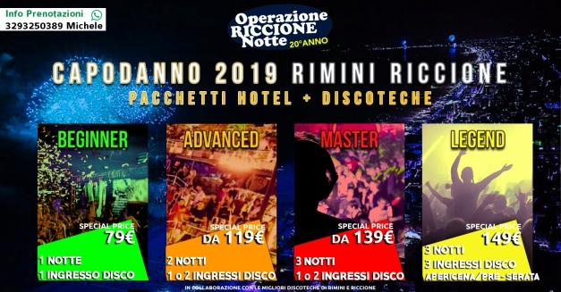 CAPODANNO 2019 RIMINI RICCIONE HOTEL + DISCOTECHE micheler