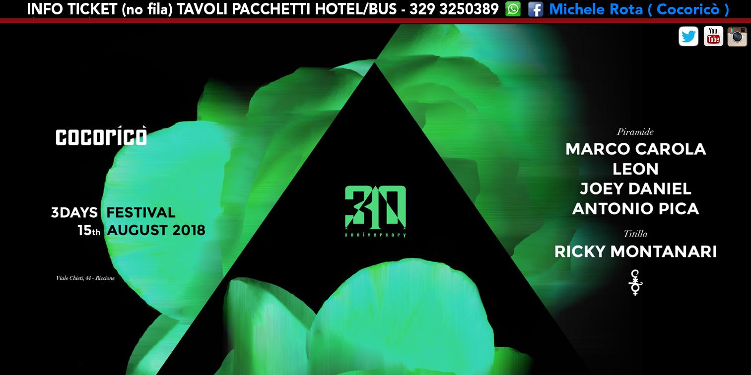 marco carola cocorico 15 agosto 2018 ticket tavoli pacchetti hotel