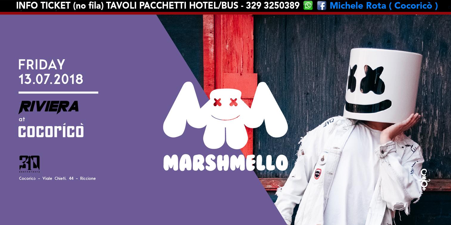 marshmello cocorico riviera 13 luglio 2018 ticket tavoli pacchetti hotel