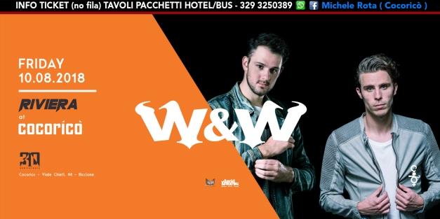 w&w cocorico riviera 10 agosto 2018 ticket tavoli pacchetti hotel