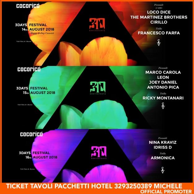 3days festival COCORICO TICKET PACCHETTI HOTEL TAVOLI