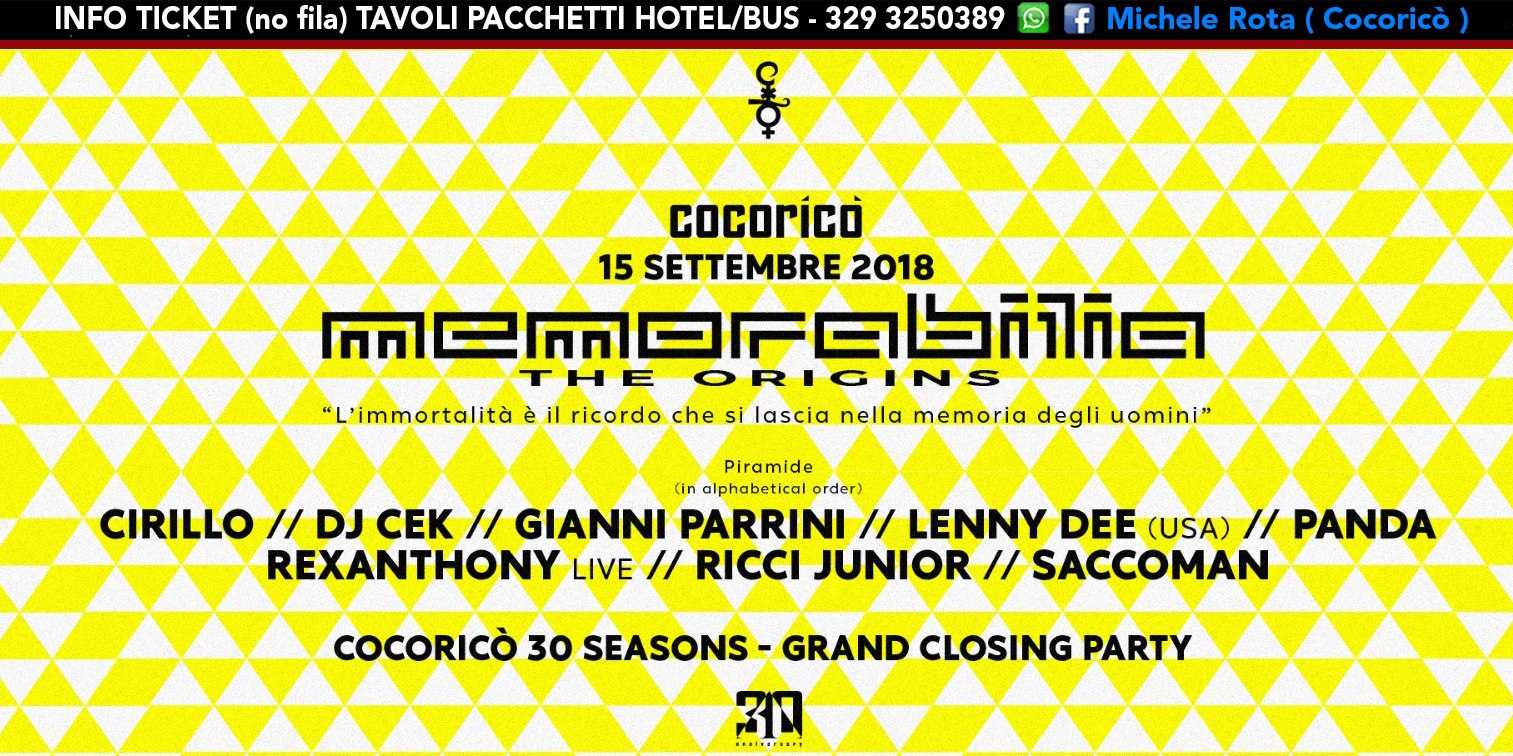 cocorico memorabilia closign party 15 settembre 2018